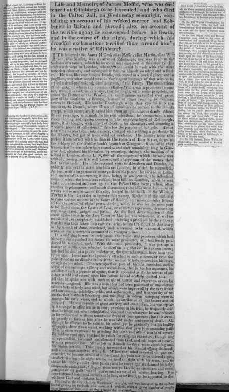 Broadside concerning the criminal career and death of James Moffat
