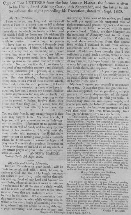 Broadside containing two letters written by Andrew Hardie in September 1820, on the night before his execution