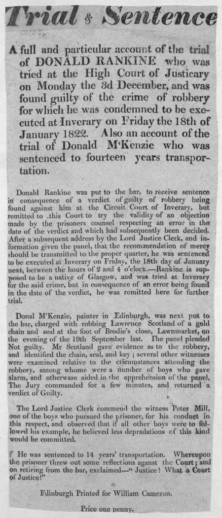 Broadside entitled 'Trial and Sentence'