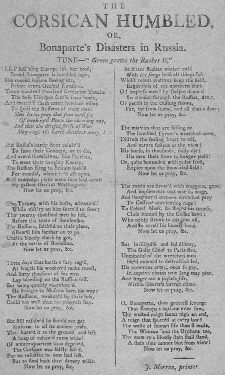 Broadside ballad entitled 'The Corsican Humbled, or Bonaparte's Disasters in Russia'