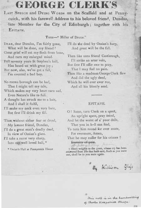 Broadside regarding the last speech of George Clerk