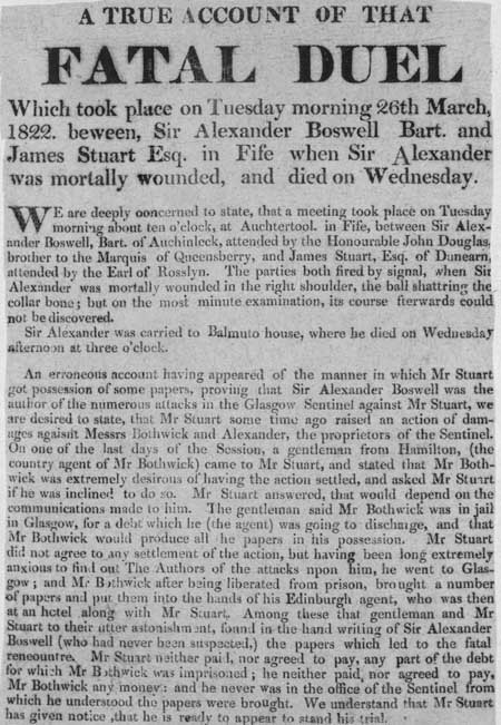 Broadside entitled 'A True Account Of That Fatal Duel'