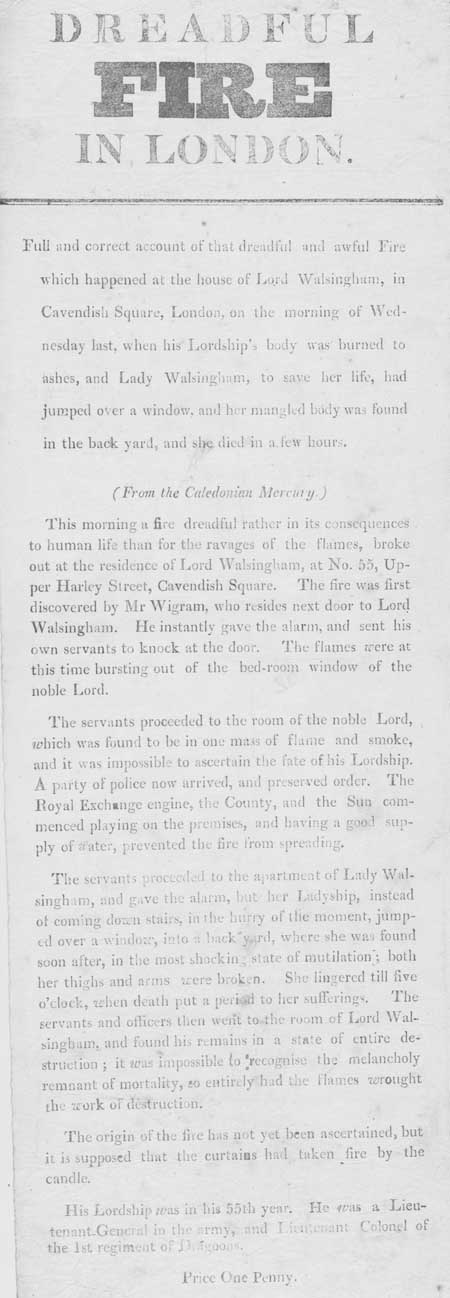 Broadside entitled 'Dreadful Fire in London'