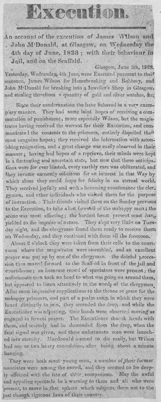 Broadside entitled 'Execution'