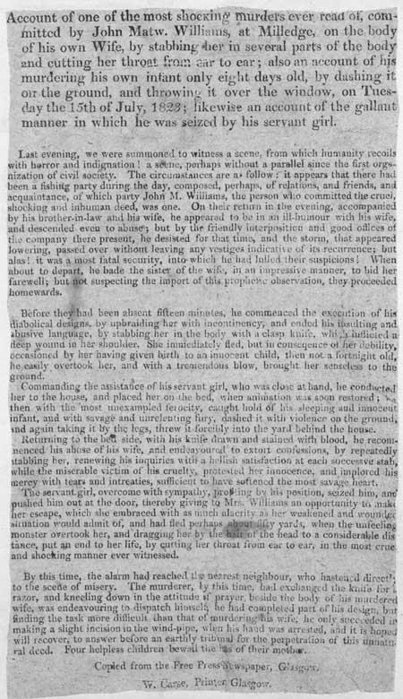 Broadside regarding the murder committed by John Mathew Williams