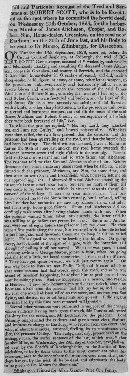 Broadside regarding the trial and sentence of Robert Scott