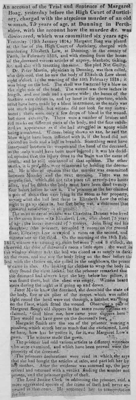 Broadside regarding the trial and sentence of Margaret Boag
