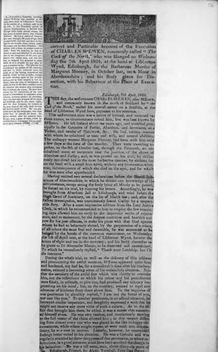 Broadside regarding the execution of Charles McEwen