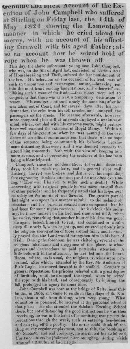 Broadside entitled 'Genuine and latest account of the excution of John Campbell'.