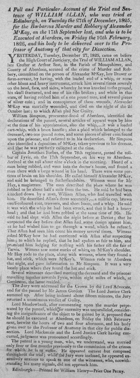Broadside concerning the trial and sentence of William Allan