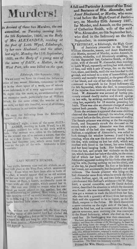 Broadside regarding the trial and sentence of William Alexander and Janet Blackwood, or Martin