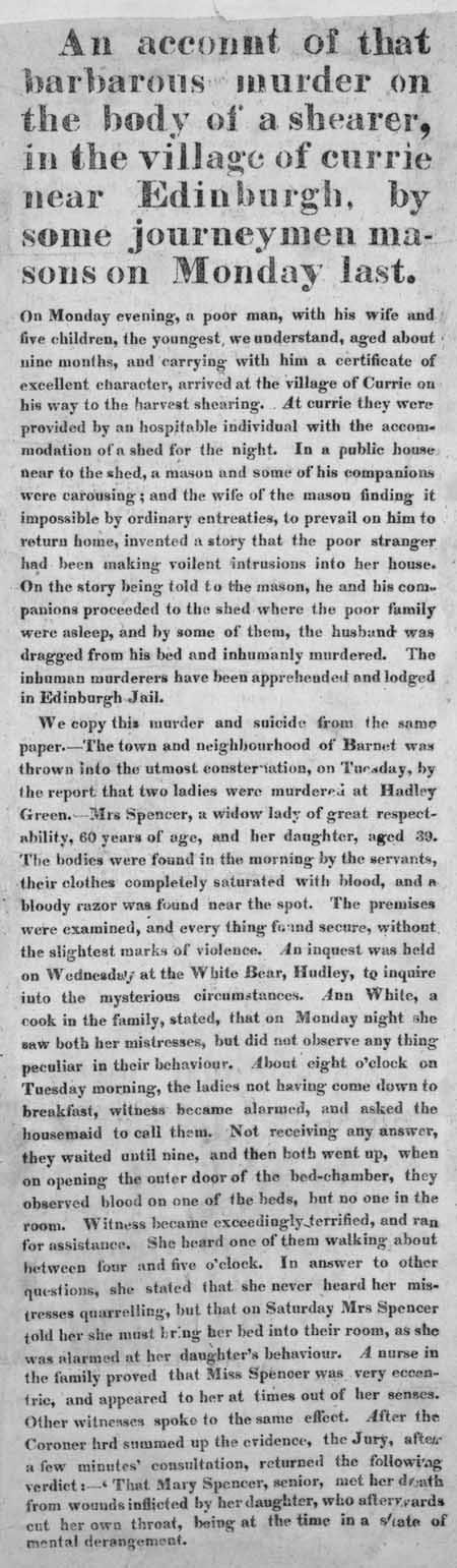 Broadside concerning the murder of a shearer, and the deaths of a mother and daughter.
