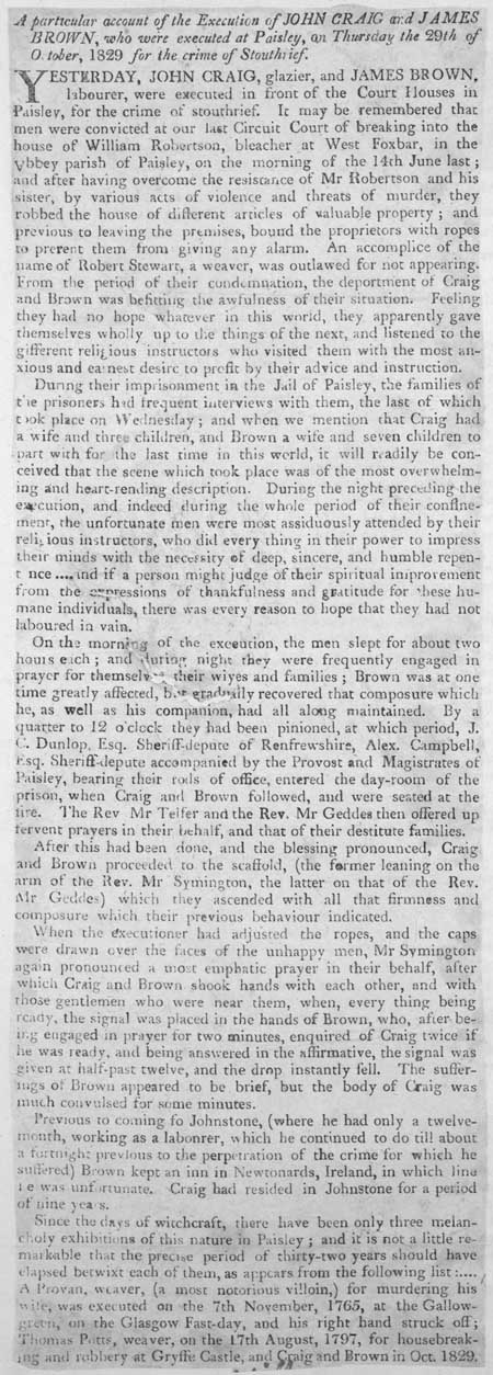 Broadside regarding the execution of John Craig and James Brown