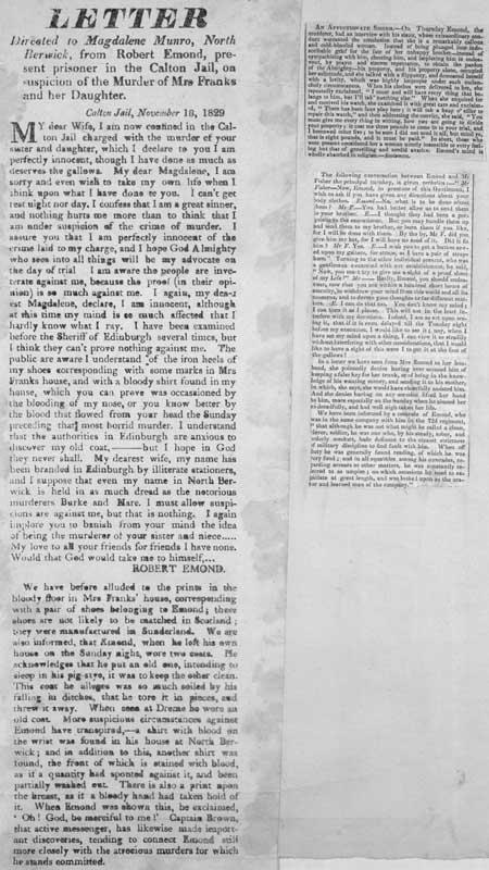 Broadside concerning a letter from Robert Emond to Magdalene Munro