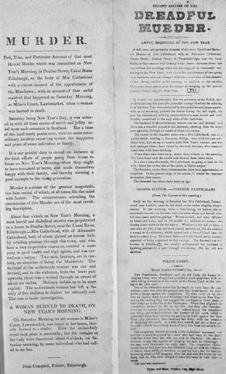 Broadside entitled 'Second Edition of the Dreadful Murder'