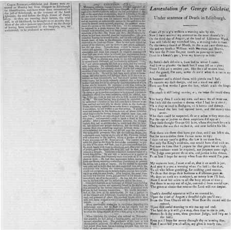 Broadside entitled 'Lamentation for George Gilchrist, Under sentence of Death in Edinburgh'
