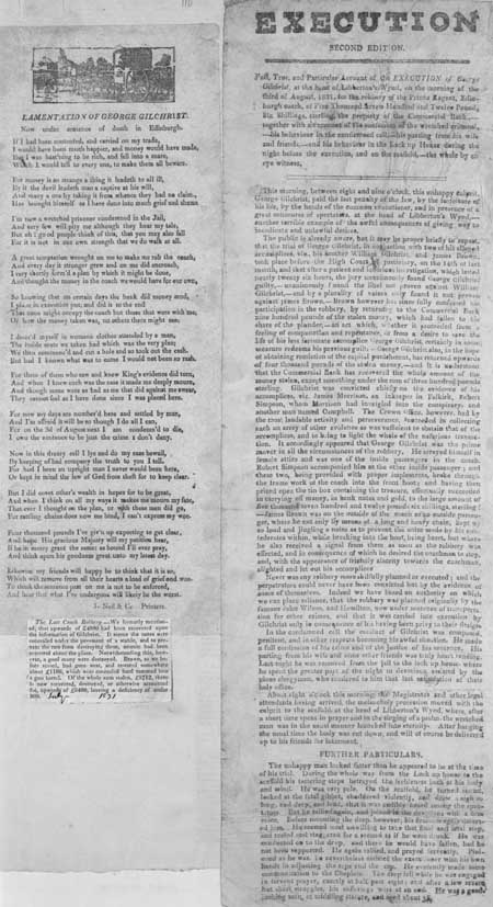 Broadside entitled 'Execution Second Edition'