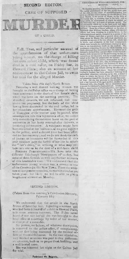 Broadside entitled 'Second Edition. Case of supposed Murder of a Child'