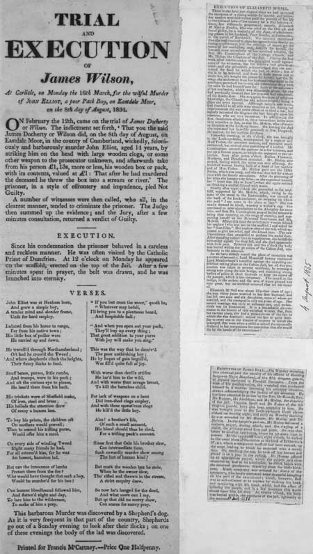 Broadside entitled 'Trial and Execution of James Wilson'