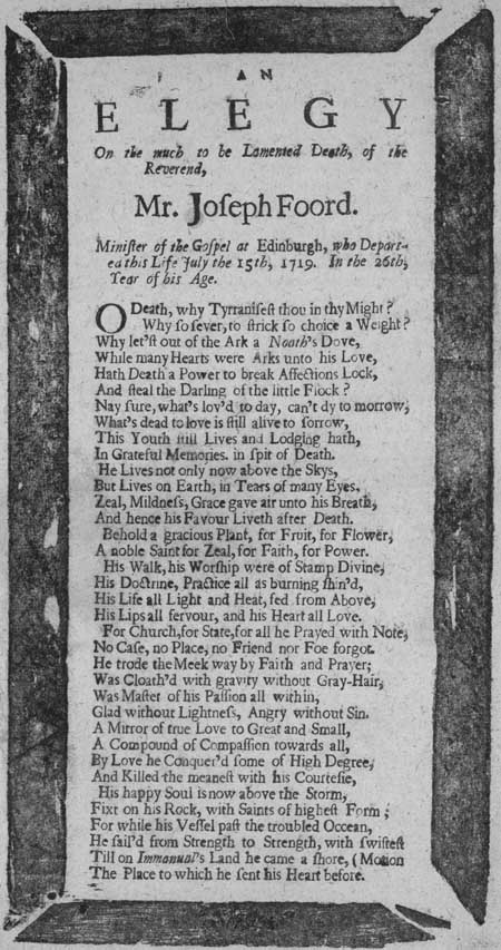 Broadside entitled 'An Elegy'