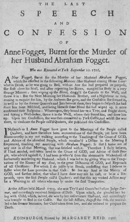 Broadside concerning the burning of Anne Fogget