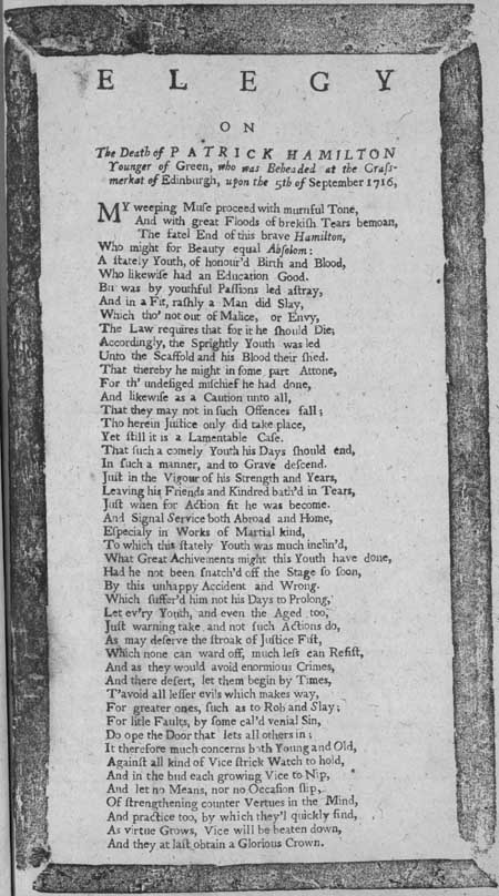 Broadside entitled 'Elegy'