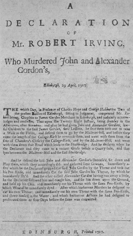 Broadside regarding the murderer Robert Irving