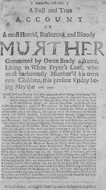 Broadside regarding the murderer Owen Brady