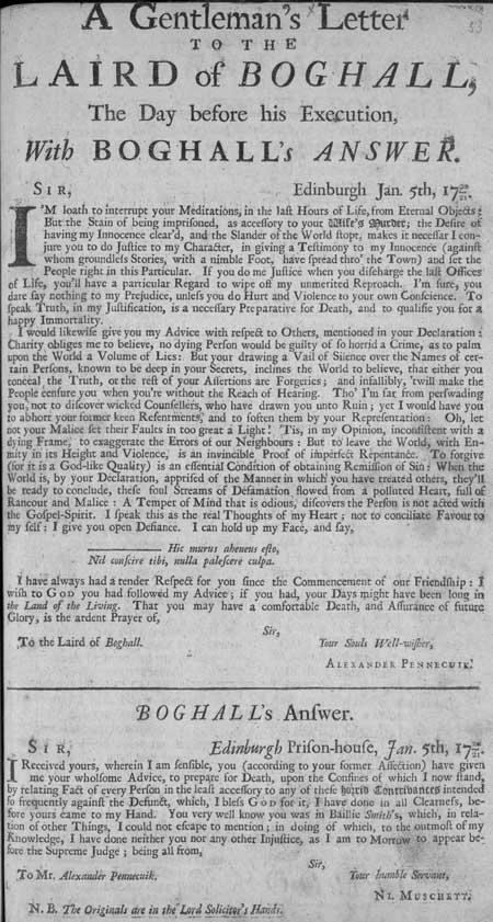 Broadside showing a letter from Alexander Pennecuik to the Laird of Boghall, and Boghall's reply