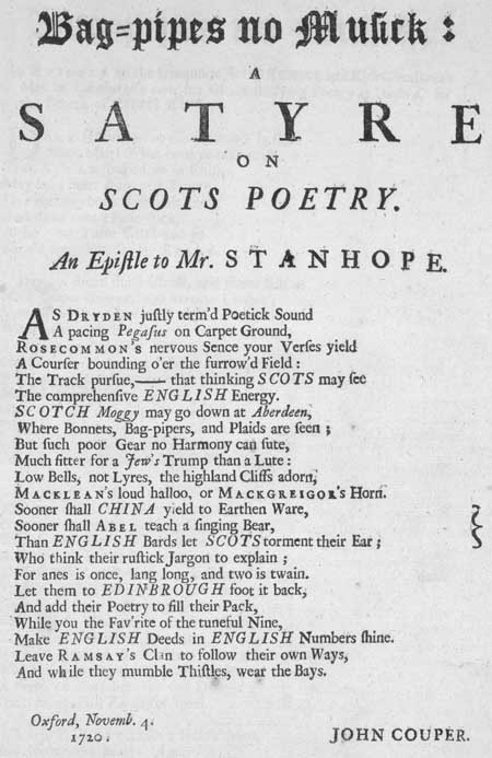 Broadside ballad entitled 'Bagpipes No Musick: A Satyre on Scots Poetry / An Epistle to Mr Stanhope'