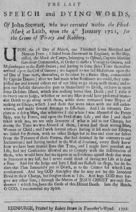 Broadside regarding the execution of John Stewart