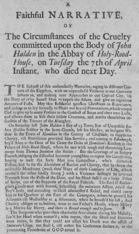 Broadside regarding the death of John Halden