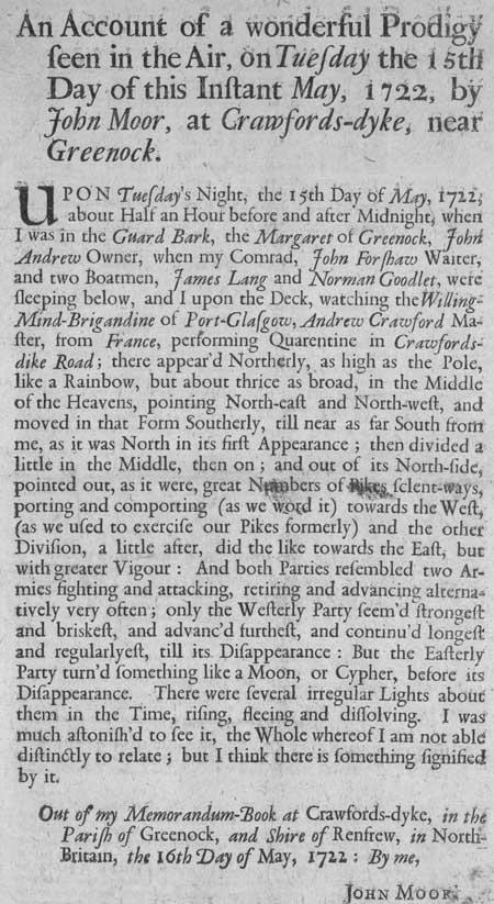 Broadside regarding a prodigy seen by John Moor