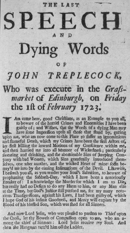 Broadside regarding John Treplecock