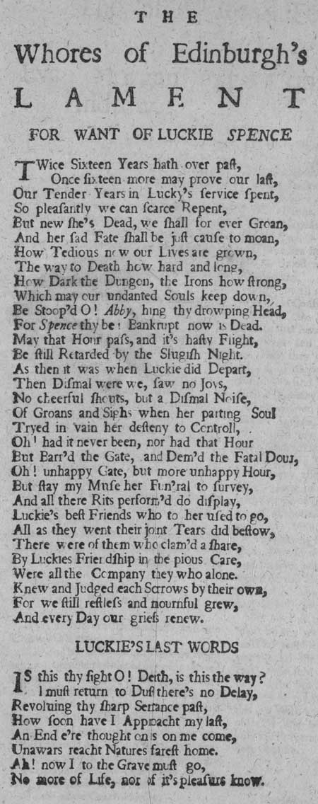 Broadside entitled 'The Whores of Edinburgh's Lament for want of Luckie Spence'