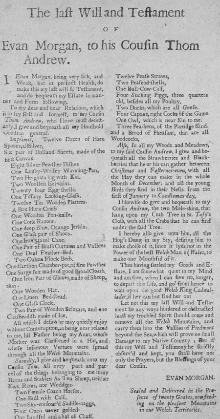 Broadside entitled 'The Last Will and Testament of Evan Morgan, to his cousin Thom Andrew'