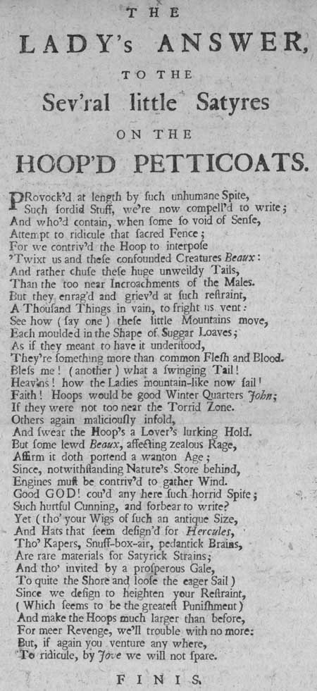 Broadside entitled 'The Lady's Answer to the Sev'ral Little Satyres on the Hoop'd Petticoats'