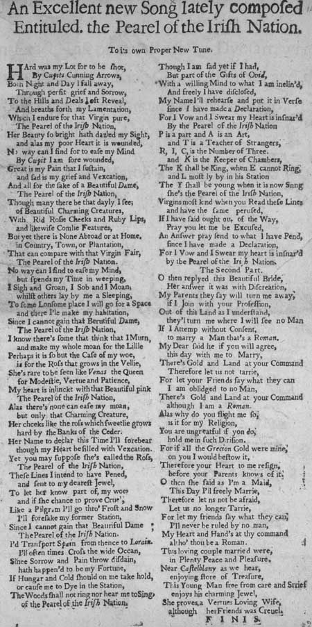 Broadside ballad entitled 'The Pearl of the Irish Nation'