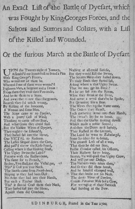 Broadside entitled 'An Exact List of the Battle of Dyesart', 1720