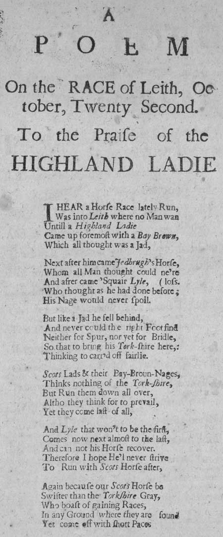 Broadside entitled 'A Poem on the Race of Leith, October, Twenty Second'