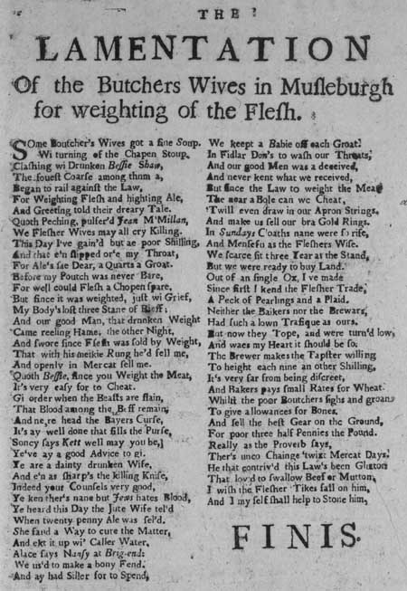Broadside entitled 'The Lamentation of the Butchers Wives in Musleburgh for Weighting of the Flesh'