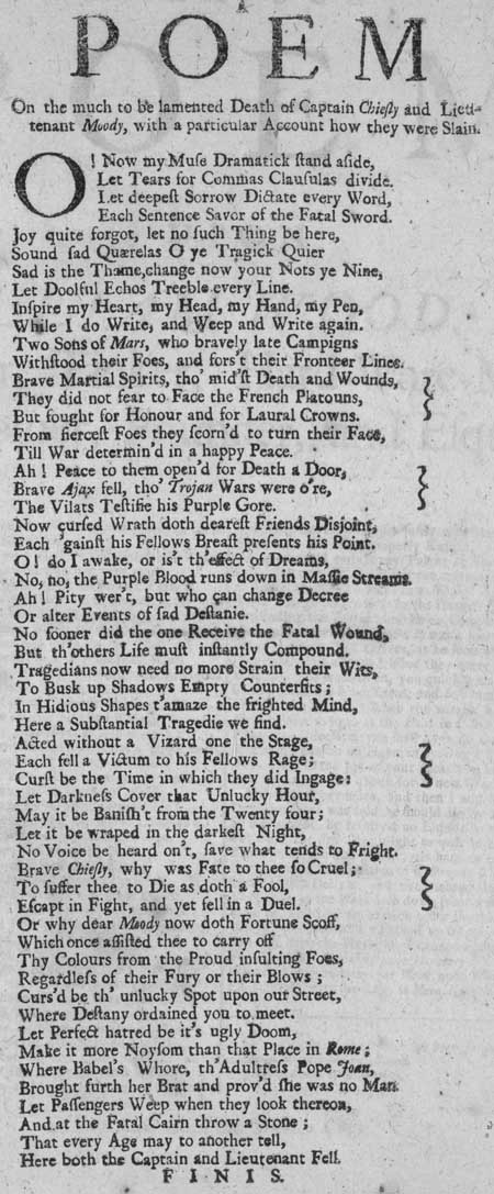 Broadside entitled 'A Poem on the Much to be Lamented Death of Captain Chiefly and Lieutenant Moody'