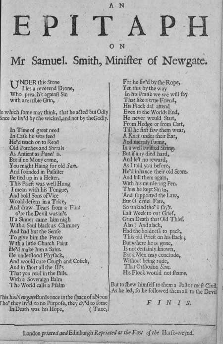 Broadside entitled 'An Epitaph on Mr Samuel Smith, Minister of Newgate'