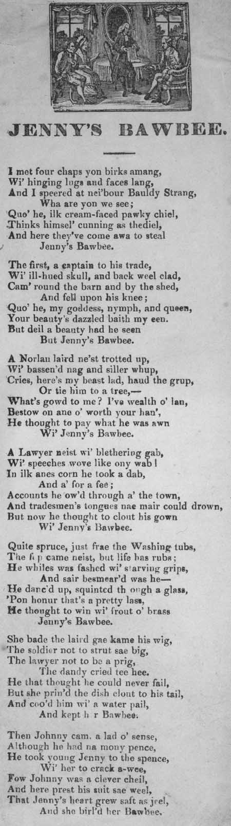 Broadside ballad entitled 'Jenny's Bawbee'