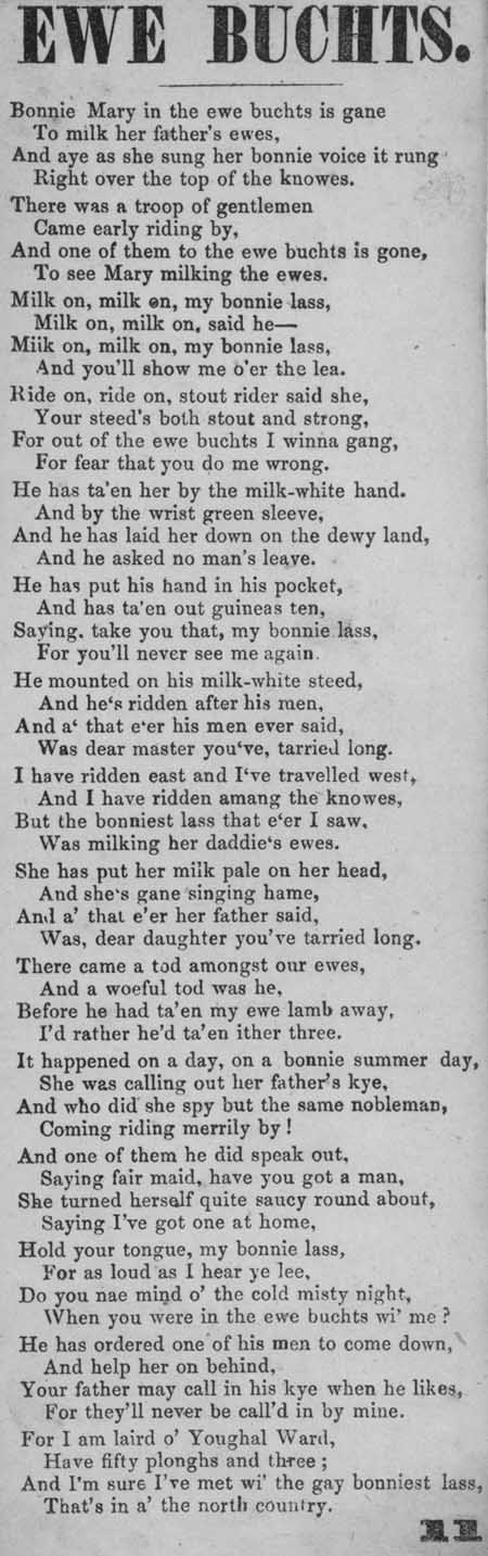 Broadside ballad entitled 'Ewe Buchts'