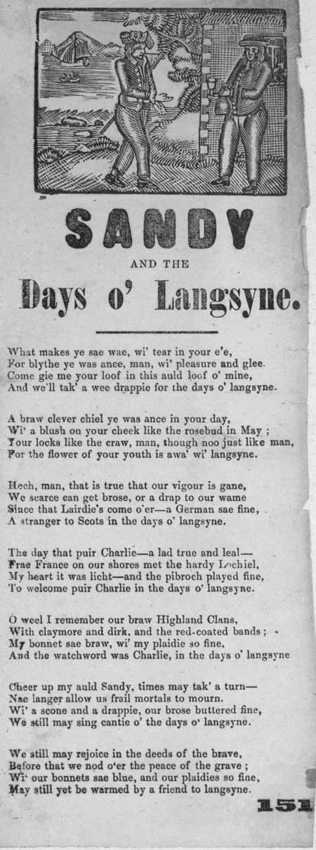 Broadside ballad entitled 'Sandy and the Days o' Langsyne'