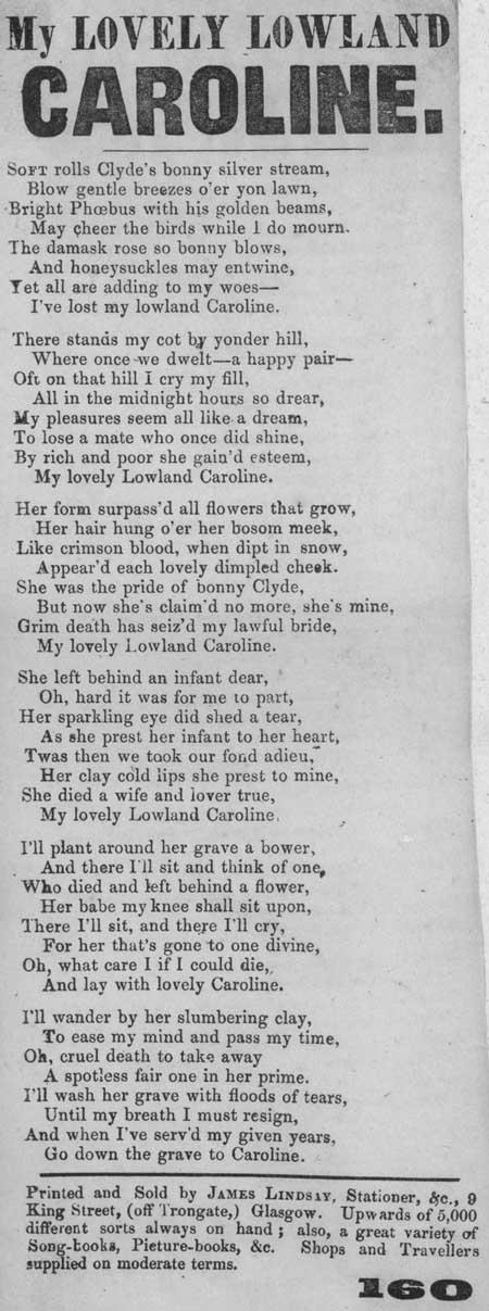 Broadside ballad entitled 'My Lovely Lowland Caroline'