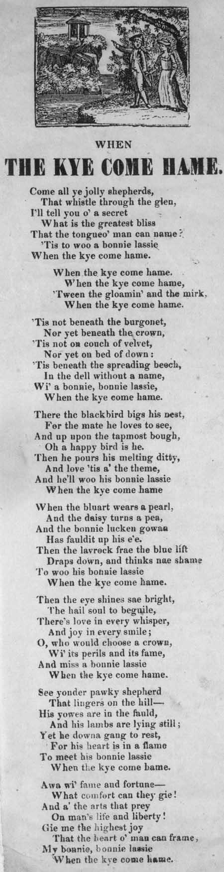 Broadside ballad entitled 'When the Kye Come Hame'