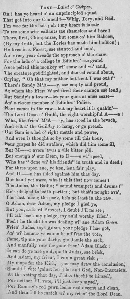 Broadside ballad concerning the incompetence of politicians