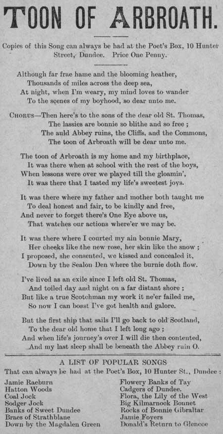 Broadside ballad entitled 'Toon of Arbroath'